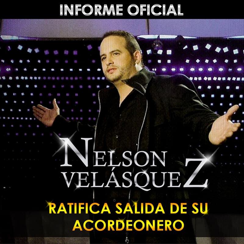 Nelson Velásquez ratifica salida de su acordeonero