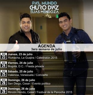 Agenda del Churo Diaz & Elias Mendoza para este fin de semana