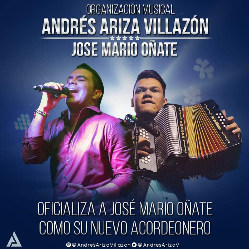 Andrés Ariza Villazón oficializa a José Mario Oñate como su nuevo acordeonero