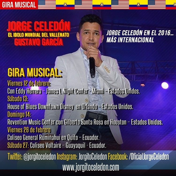 Jorge Celedón en el 2016, más internacional: Estados Unidos y Ecuador en febrero