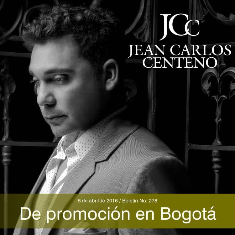 Jean Carlos Centeno de promoción en Bogotá