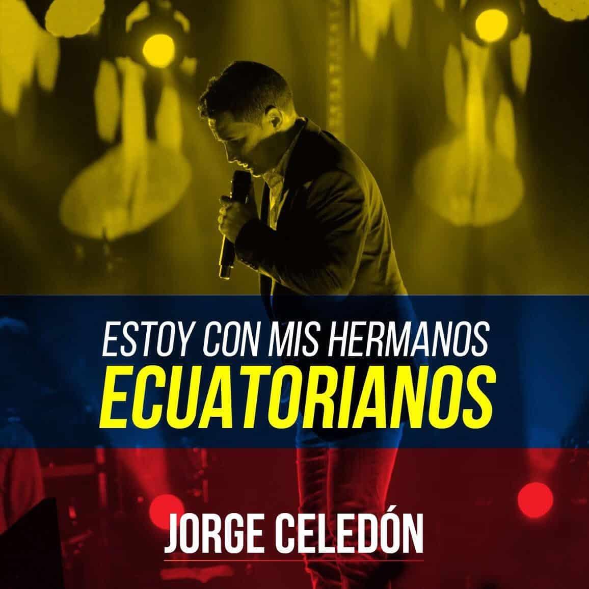"""""""Estoy con mis hermanos ecuatorianos"""": Jorge Celedón"""