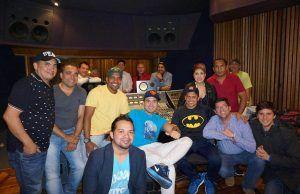 Jorge Celedon y Sergio Luis , tuvieron ayer su primera jornada de grabación