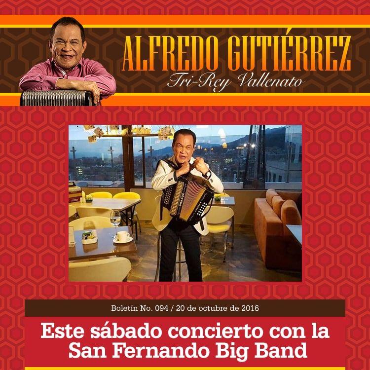 Este sábado concierto de Alfredo Guiérrez y la San Fernando Big Band