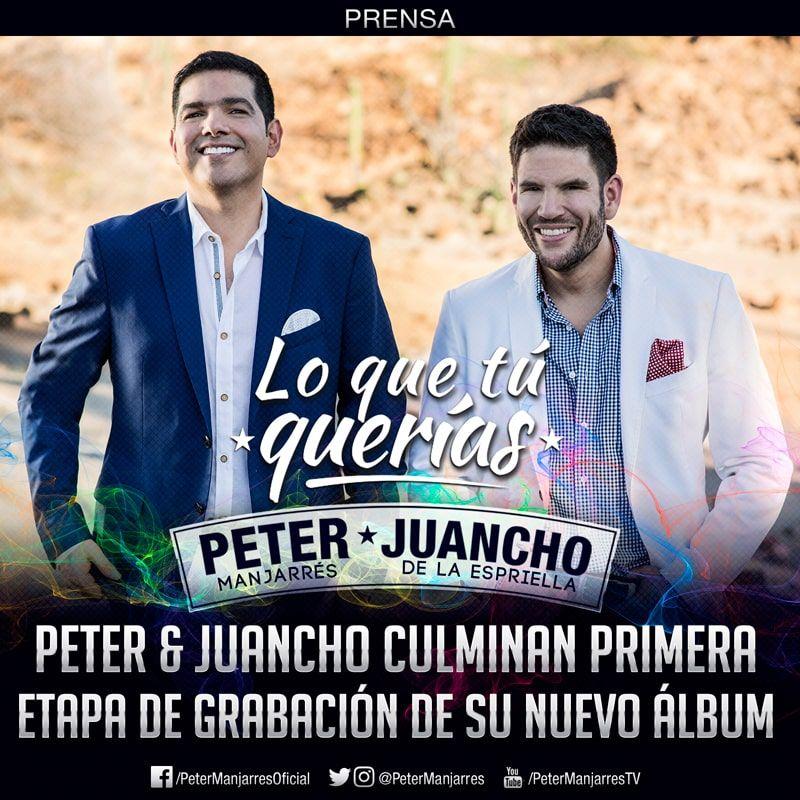 Peter Manjarrés y Juancho culminan la primera etapa de grabación de su nuevo CD