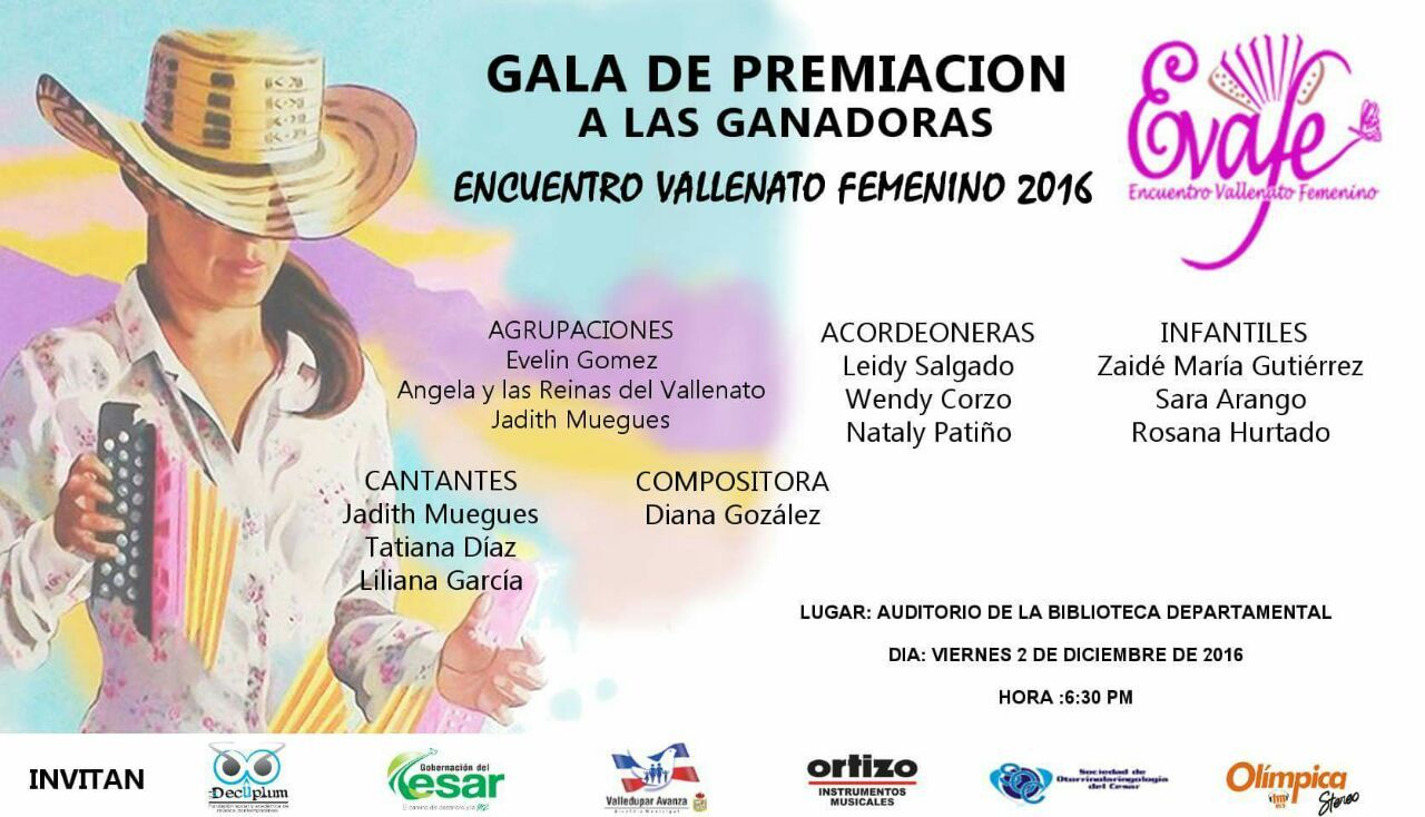 2 de Diciembre gala de Premiación del Primer Encuentro Vallenato Femenino