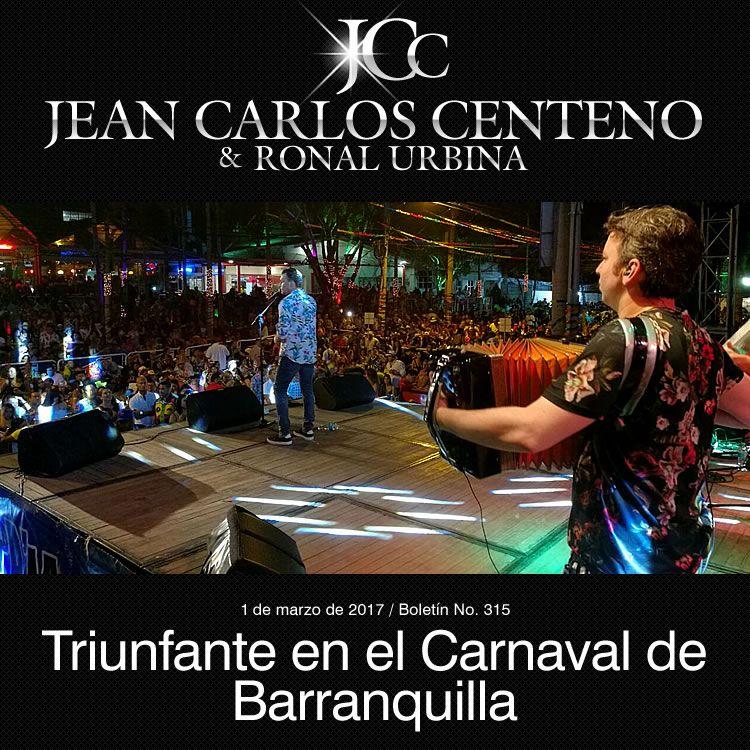 Jean Carlos Centeno triunfante en el carnaval de Barranquilla