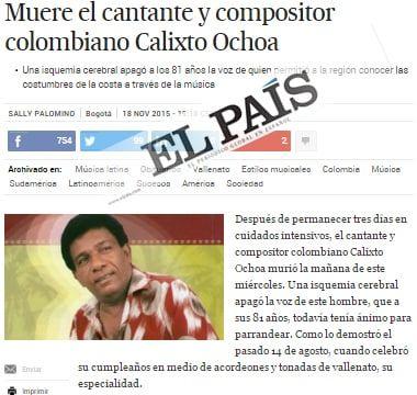 La muerte de Calixto Ochoa es Noticia en España