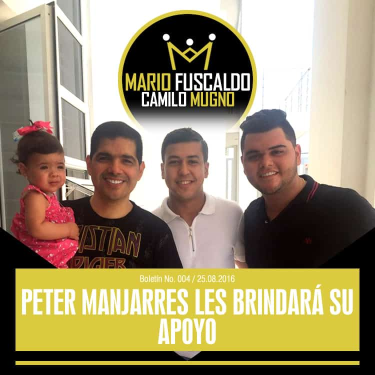 Peter Manjarres le brindará su apoyo a MARIO FUSCALDO & CAMILO MUGNO