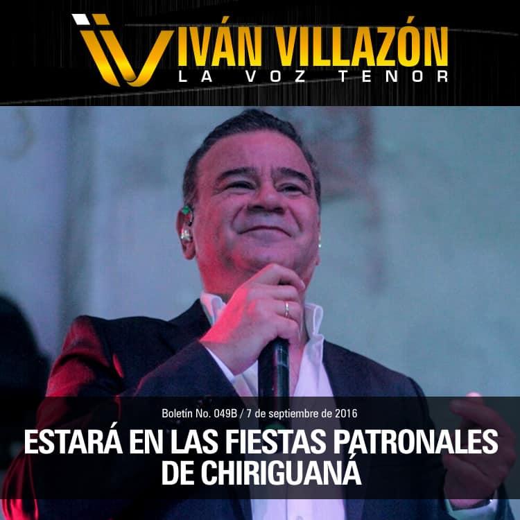 IVÁN VILLAZÓN estará en las fiestas patronales de Chiriguaná