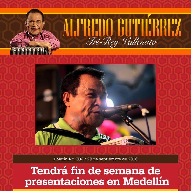 ALFREDO GUTIÉRREZ tendrá fin de semana de presentaciones en Medellín