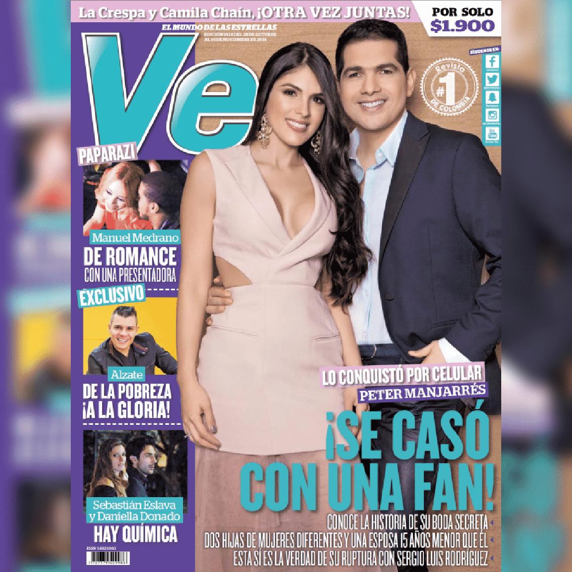Peter Manjarrés y su esposa, son la portada de la revista Vea