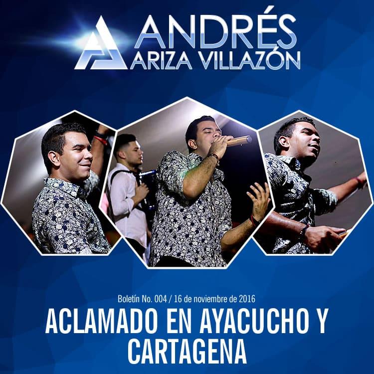 Andrés Ariza Villazón aclamado en Ayacucho y Cartagena