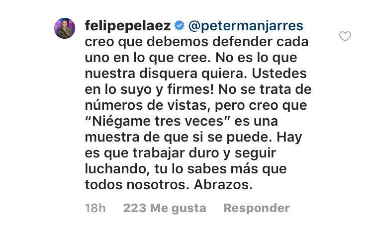 Felipe pelaez le contesta a Peter Manjarres