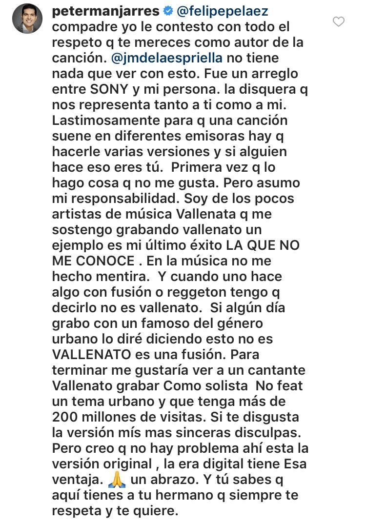 Peter Manjarres le responde a Felipe Pelaez