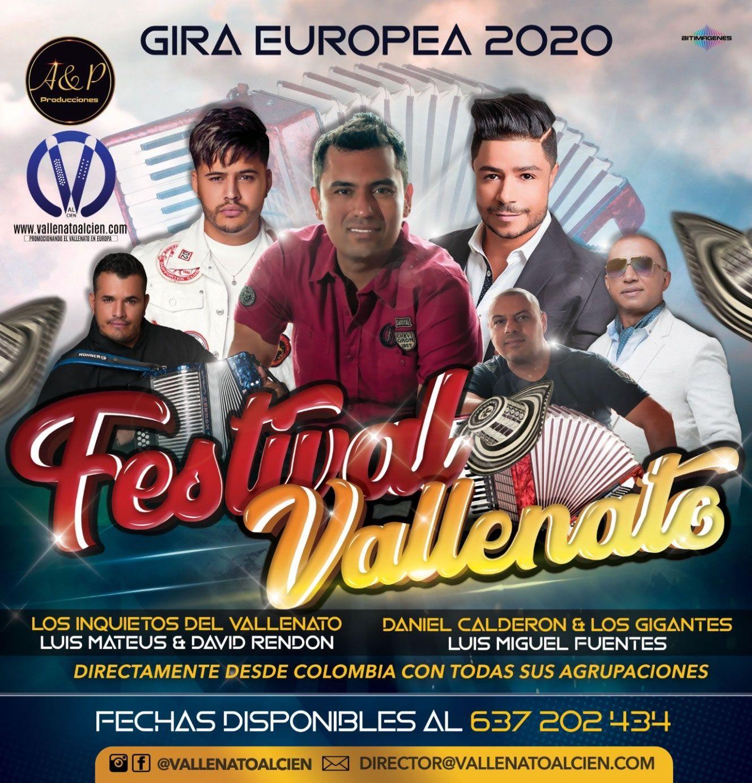 Festival Vallenato en Europa con los mejores interpretes del vallenato Romantico