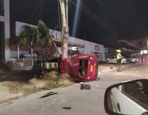 Carro donde se accidentó Moises Díaz